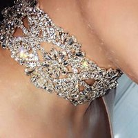 Mode Argent Or Chunky Colliers Déclaration Femmes Big Shining Rhinestone Fleur Colliers Collier Collier Bijoux FG