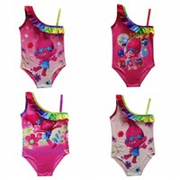 Wholesale Girls Rainbow Swimwear - trolls Girls rainbow color One-Pieces Swimwear children cartoon lace Swimsuit trolls printing Bikini kids bathing suit DHL fast ship 6 style