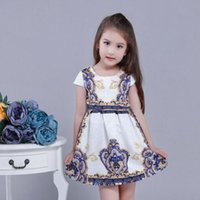 Wholesale Wholesale Cheap Flower Girl Dress - New Arrival Lovely Printed Summer Girl's Dresses Cheap Knee Length Short Party Gowns For Little Girls Flower Girls' Dresses Free Shipping