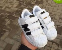 Wholesale Tops For Girls Boys - HOT!2017 top Quality Superstar Head Sneakers Children casual shoes for kids boys sneakers and girls casual shoes EUR25-EUR35 free shipping