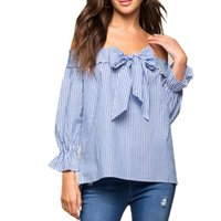 Wholesale Plus Size Vertical - Sexy Off Shoulder Blouse 2017 Summer Women Bow Slash Neck Long Sleeve Blue Vertical Striped Shirt Blusas Casual Tops Plus Size