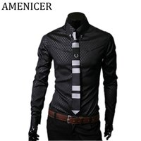 Wholesale Collars Clothing Items - Wholesale- Big Size Men'S Shirt Casual Fashion Items Mens Slim Fit Brand Male Designer Dresses Social Shirts For Men Checker Brand-Clothing