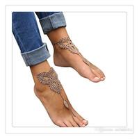 cadenas de tobilleras para zapatos al por mayor-Suministros de boda Joyería de pie Crochet Boda Sandalias descalzas Piscina de playa Zapatos desnudos Cadenas de yoga Tobilleras de pie Zapatos de encaje nupcial Tobillera de playa
