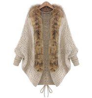 Wholesale Faux Collar Sweater - 2018 Autumn Winter Women Cardigans Sweater Shawls Big Wraps Bat Sleeve Knit Cardigan Fur Shawl Collar Sweater Poncho Cape Coat