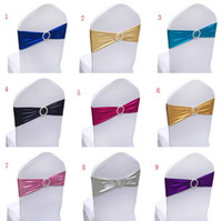 Wholesale Wholesale Spandex Chair Sashes - Chair Sashes Covers for Wedding Event spandex Bands with buckles Elastic shiny Chair Sash Cover Band Banquet Party Decoration wholesale