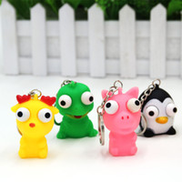 Wholesale Pop Eyes Animal Toy - decompression toys winking doll (with keychain) pendant small animals Stress Relief Eye Popping Large Decompression Squeeze Toy WD280AA
