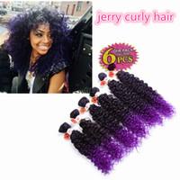 cheveux synthétiques bouclés violets achat en gros de-Haute qualité 6 pcs / lot synthétique armure extensions de cheveux Jerry bouclés ombre brun kanekalon profondément bouclés crochet violet tressage Cheveux pour balck
