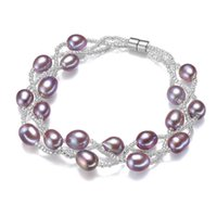 Wholesale Pearls Bracelets Magnet - 7-8mm Purple Natural Pearl Bracelet Charm Luxury Wedding Gift Fashion Freshwater Rice Magnet Buckle Bangle Bracelets For Women Jewelry 2017