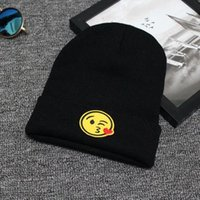 Wholesale Skull Caps For Summer - Unisex Fashion Emoji Printing Knitted Beanies Hat Stylish Hip Hop Skullies Cap Hunting Caps Camping Hats For Men And Women