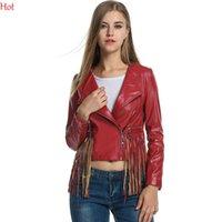 Wholesale Crop Leather Jacket Women - Women Synthetic Leather Coats Motorcycle Jacket Tassels Punk Outwear Spring Solid Slim Stylish Plus Size Cropped Jacket Red Black YC001303