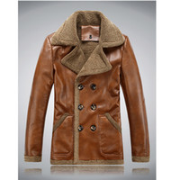 Wholesale Double Breasted Pu Leather Jacket - Men PU leather jackets 2016 New brand plus velve casual mens leather jackets and coats,Hat Detachable Winter warm jaqueta couro