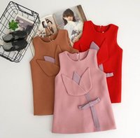 Wholesale Woolen Floral Dress - 2017 Autumn Baby Girls Dresses Chest Flowers Sleeveless Christmas New Year Woolen Dress Children Clothing 318282