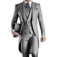 erkekler düğün ustalığı stilleri toptan satış-Özel Yapılmış Damat Smokin Groomsmen Sabah Tarzı 14 Stil En Iyi adam Tepe yaka Groomsman erkek Düğün Takımları (Ceket + Pantolon + Kravat + Yelek) J711