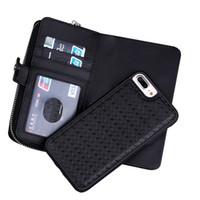 Wholesale Braided Handbag - 2017 Newest Hot High Quality Luxury Genuine Leather Braided Zipper Handbag Split Case Magnetic Separation Bag For iPhone 5 5s 6 6s 7 Plus