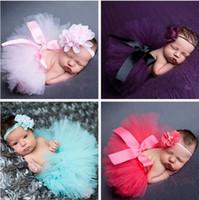 trajes de utilería infantil al por mayor-Accesorios de fotografía para recién nacidos Accesorios de fotografía de diseño dulce con diadema Traje de traje infantil para bebés Falda de tutú de princesa Vestido de verano
