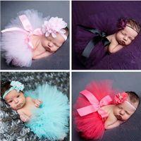 vestidos tutu princesa para bebês venda por atacado-Recém-nascido Fotografia Adereços Adereços Foto Doce Projeto com Headband Do Bebê Traje Infantil Outfit Princesa Saia Tutu Vestido de Verão