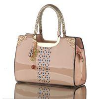 Wholesale Tote Bags Korea - Women leather handbags women bag the new brand handbag patent Korea fashion single shoulder bag