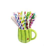 Wholesale Drinking Paper Straw Strip - 25pcs pack colorful chevron patterns paper straw strip drink paper straws eco friendly drinking paper straws for party wedding supplies