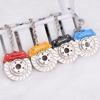 Wholesale Disc Brake Keychain - New Creative Auto Parts Spinning Caliper Disc Brake Car Keyring Keychain Keyfob Free Shipping