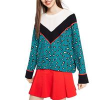 Wholesale Ladies Blouses Leopard Print - Women leopard print V patchwork loose shirts long sleeve o neck blouse ladies sweet casual brand tops blusas LT1130