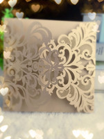 Wholesale Vintage Birthday Greeting Cards - Wholesale-25pcs Beige Gold Vintage Wedding Party Favors Pearlpaper Cards, Laser Cut Birthday Greeting Cards Wedding Invitation Cards