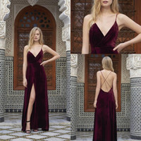 Wholesale Evening Dress Thin Straps - Fashion Burgundy Long Evening Dresses 2017 New Thin Shoulder Strap Sexy V neck Velevt Prom Dresses Evening Wear