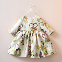 Wholesale Cartoon Girls Beautiful Clothes - 2016 New designed kids girls princess dress,baby girls Chinese style cartoon owl dress,beautiful girls fall winter clothes,3-10Y