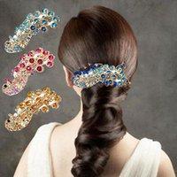 ingrosso capelli di cristallo di pavone dei rhinestones-Retro decorazione di capelli # T701 della clip della forcella della barretta dei Rhinestones di cristallo del pavone