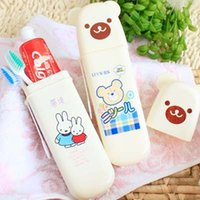 Wholesale Teddy Bear Boxes Wholesale - Wholesale- Teddy Bear travel portable bathroom accessories products toothbrush holder plastic storage box high capacity factory Outlet