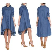 Wholesale Ladies Large Long Dress - Women Lady Girls Large Size Loose Casual Blue Long Sleeve Denim Jeans Dress Skirts Clothing 2887