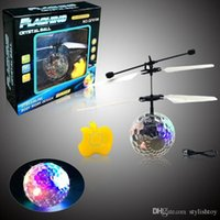Wholesale Bath Two - 2017 Easy Operation Vehicle Flying RC Flying Ball Infrared Sense Induction Mini Aircraft Flashing Light Remote Control UFO Toys for Kids
