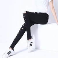 Wholesale Sexy Ripped Jeans - BONJEAN Holes Sexy Skinny White Jeans femme 2017 Summer Fashion Elastic Slim Denim Pencil Pants Plus Size Ripped Jeans For Women
