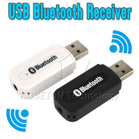 Wholesale Iphone Usb Dongle - Wholesale- Portable USB Wireless Bluetooth Stereo Music Receiver Dongle with 3.5mm Jack Audio Cable for Speaker for iPhone 6 for SONY LG G3