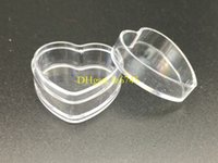 Wholesale Wholesale Plastic Heart Shaped Containers - 500pcs lot Heart Shape 4g Clear Plastic Sample Containers Mini PS Jar With Lid Empty Cosmetic Packaging Pot Box