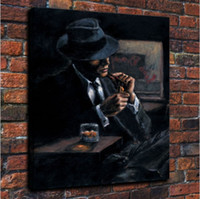 Wholesale Impressionism Arts - Framed Fabian Perez Whiskey At Las Brujas Handpainted Impressionism Portrait Art Oil Painting,on High Quality Canvas Home Decor Multi sizes