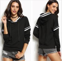 Wholesale Cashmere Hoodies For Women - 2016 Autumn Winter White stripe Women Sweatshirt Jumper Casual Harajuku Hoodies For Lady Funny Hip Hop Street