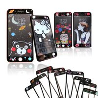 Wholesale Cartoon Screen - For iPhone 6 6s 7 plus Carbon Fiber Tempered glass Fashion Cartoon Pattern Anti-explosion Screen Protector With Retail package