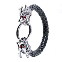 Wholesale Red Dragon Jewelry - Ancient Silver Red Eye Chinese Dragon Bracelet Weave Leather Bangle cuff for Men Punk Jewelry 161977