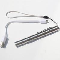 led mini lampe de poche rechargeable livraison gratuite achat en gros de-USB Rechargeable Pocket Mini LED lampe de poche ronde lune forme Penlight Torch Light Noël cadeau d'anniversaire livraison gratuite ZA3682
