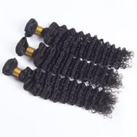 extensions de cheveux brésiliens mixtes remy achat en gros de-Vierges brésiliens de cheveux remy tisse la vague profonde trame de cheveux bouclés 3pcs beaucoup longueurs mélangées 100% extensions de cheveux humains vierges 8