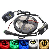 5630smd Capteur Montion LED Strip 5M 300LED Imperméable DC12V Flexible LED Strip Light + 12V 2A Power Adapter + PIR Sensor Switch