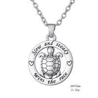 """Wholesale Words Circle Pendant - Circle """"Slow and Steady Wins The Race"""" Inspirational Word Cute Turtle animal silver Color Tortoise Circle Affirmation Pendant Necklace"""