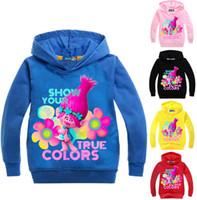 Wholesale Girls Baby Jacket Children Sweater - 2017 Children Hoodie Long Sleeved sweatshirts Baby Boys Girls Trolls T Shirt Kids Student Cotton Tops Sports Casual Tees Sweater
