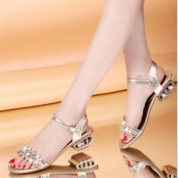 Wholesale Designer Lady Heels - Bling Lady Flat Sandals Rhinestone Flats Open Toe Summer Shoes womens gladiator sandals designer sandals for women