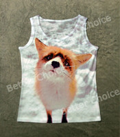 Wholesale Tank Watches Women - Track Ship+Vintage Vest Tanks Tank Tops Camis Cute Little Fox in Snow Snowfield Watching You 0292