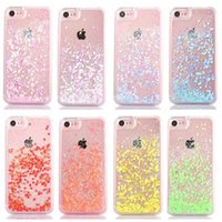 Wholesale Sweet Heart Case Iphone - hot sale cell phone case sweet gitter love heart flow liquid quicksand PC crystal case for iphone 7 7s plus 6 6s plus