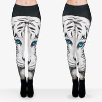 Wholesale Ladies Tiger Leggings - Women Leggings White Tiger Blue Eyes 3D Graphic Print Girl Skinny Stretchy Yoga Wear Pants Lady Runner Casual Soft Capris Trousers (J29751)
