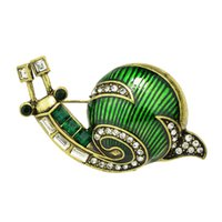 Wholesale Antique Rhinestone Brooches - New Arrival Lovely Animal Brooch Antique Gold with Rhinestone Green Enamel Snails Brooches for Lady Pin Gift Jewelry