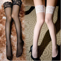 Wholesale White Silk Socks - 9 colors Sexy Black Lace Suspender Stockings Summer Girls Long Socks Over Knee Silk Stocking Thigh-Highs Stockings Lace Stocking Top Solid