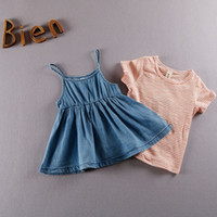 Wholesale Sumer Clothes - Hot Sell 2017 Sumer Baby Clothes Set Stripe Shirt + Suspender Denim Fabrics Skirt Sweet Children Wear Fashion Outfit Q0736